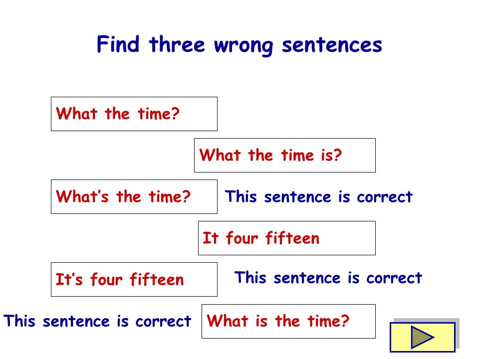 Find three wrong sentences What the time.What the time is.