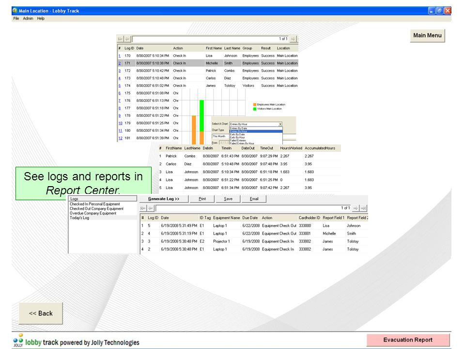 See logs and reports in Report Center.