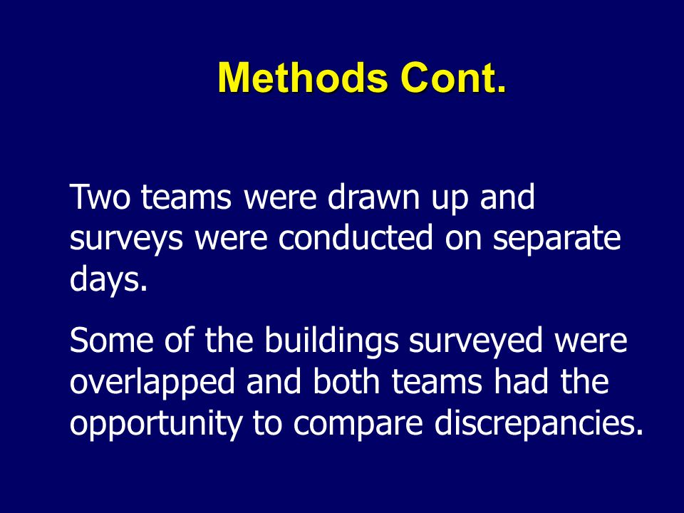 Methods Cont. Two teams were drawn up and surveys were conducted on separate days. Some of the buildings surveyed were overlapped and both teams had t