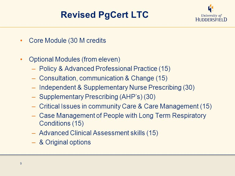 9 Revised PgCert LTC Core Module (30 M credits Optional Modules (from eleven) –Policy & Advanced Professional Practice (15) –Consultation, communication & Change (15) –Independent & Supplementary Nurse Prescribing (30) –Supplementary Prescribing (AHP's) (30) –Critical Issues in community Care & Care Management (15) –Case Management of People with Long Term Respiratory Conditions (15) –Advanced Clinical Assessment skills (15) –& Original options