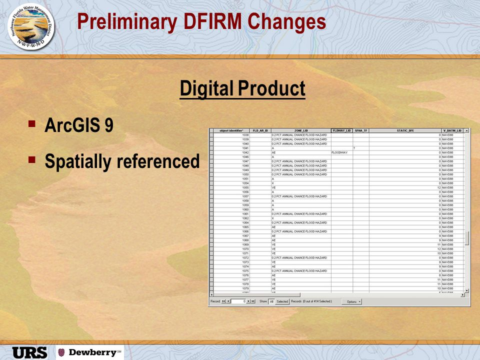 Preliminary DFIRM Changes Digital Product  ArcGIS 9  Spatially referenced