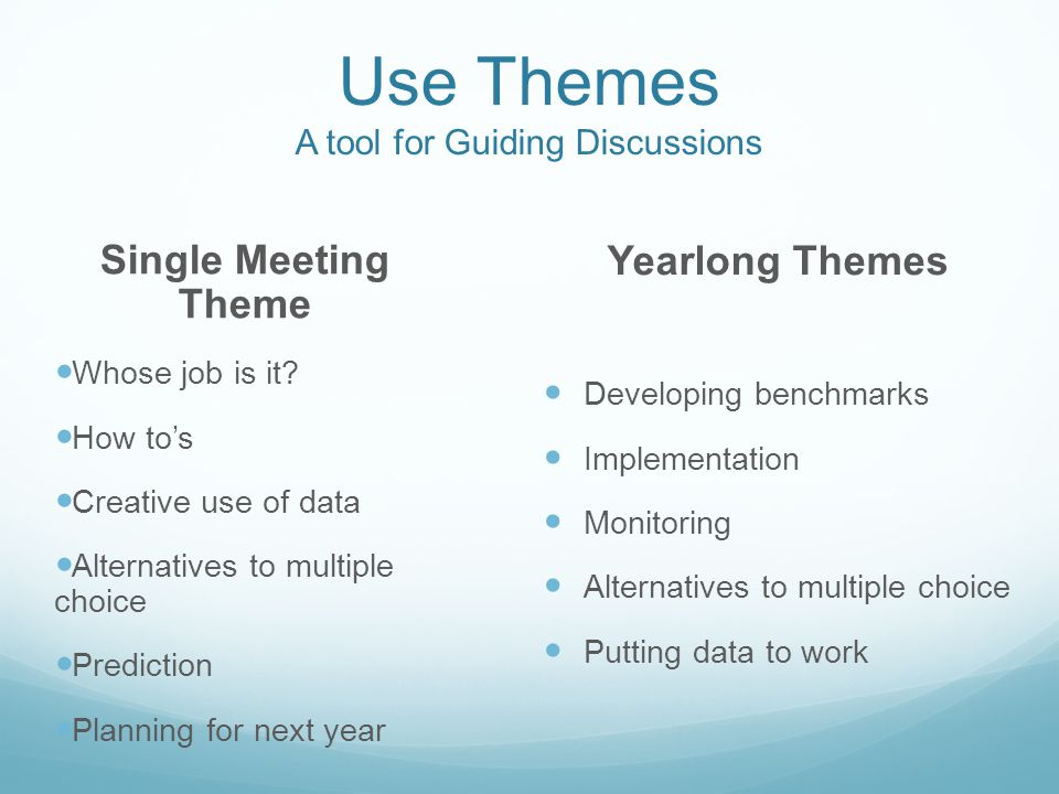 Use Themes A tool for Guiding Discussions Yearlong Themes Developing benchmarks Implementation Monitoring Alternatives to multiple choice Putting data to work Single Meeting Theme Whose job is it.