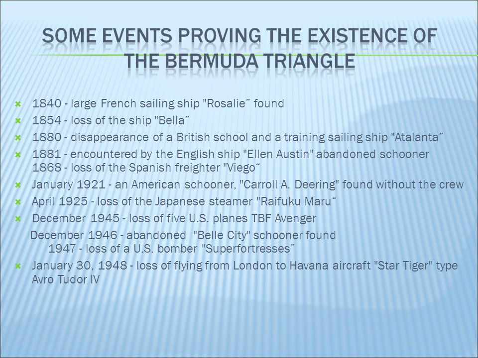  The father of the concept of the Bermuda Triangle is Vincent Gaddis, who used it in the article The Deadly Bermuda Triangle .