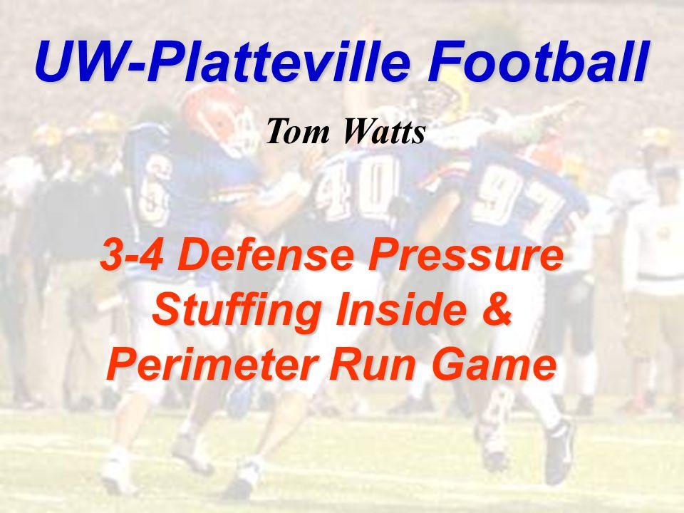 UW-Platteville Football 3-4 Defense Pressure Stuffing Inside & Perimeter Run Game Tom Watts