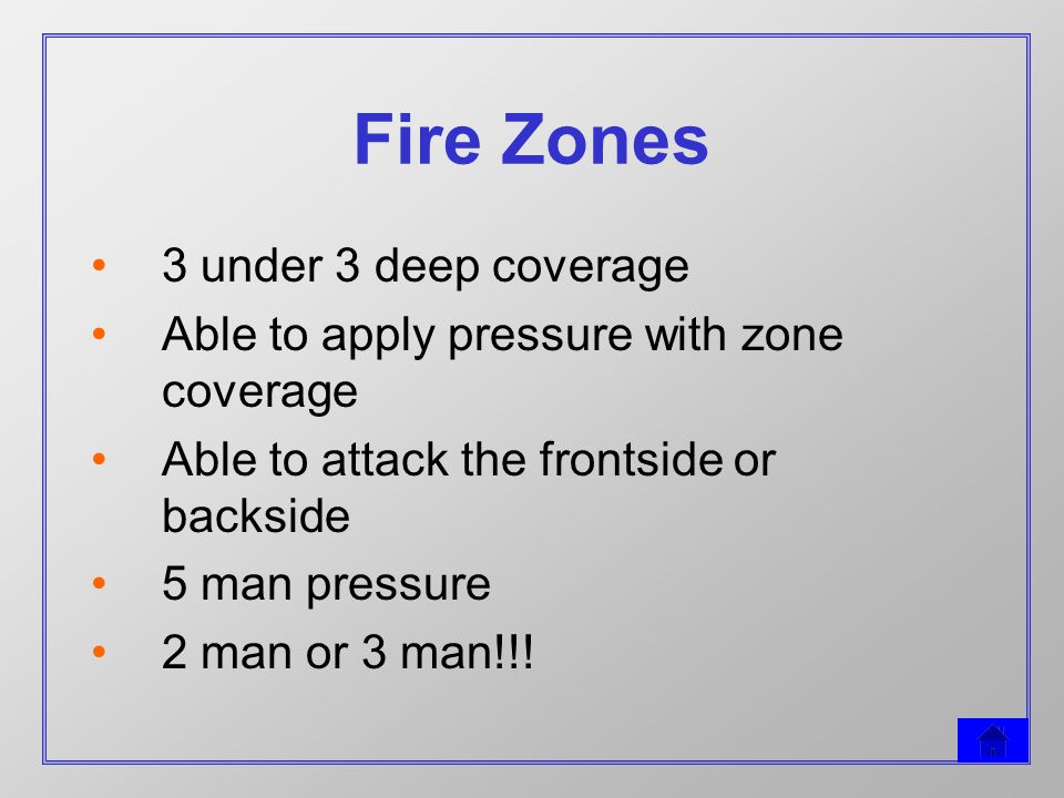 Fire Zones 3 under 3 deep coverage Able to apply pressure with zone coverage Able to attack the frontside or backside 5 man pressure 2 man or 3 man!!!