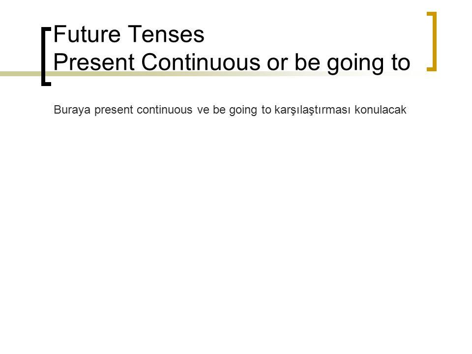 Future Tenses Present Continuous or be going to Buraya present continuous ve be going to karşılaştırması konulacak