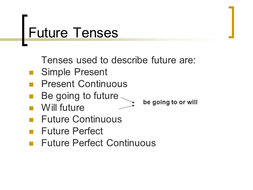 Tenses used to describe future are: Simple Present Present Continuous Be going to future Will future Future Continuous Future Perfect Future Perfect C