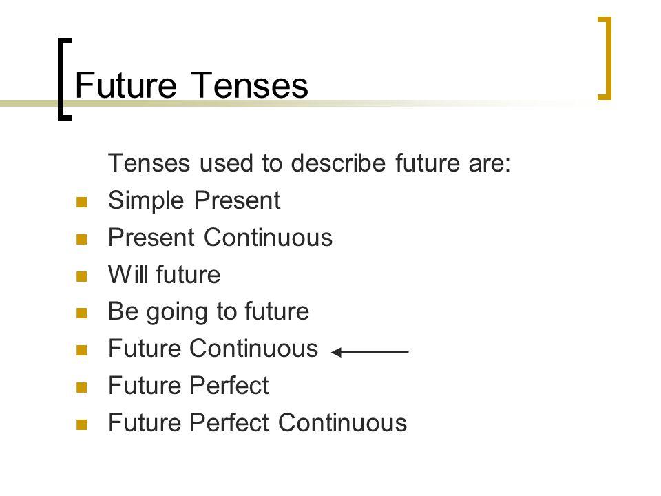 Future Tenses Tenses used to describe future are: Simple Present Present Continuous Will future Be going to future Future Continuous Future Perfect Fu