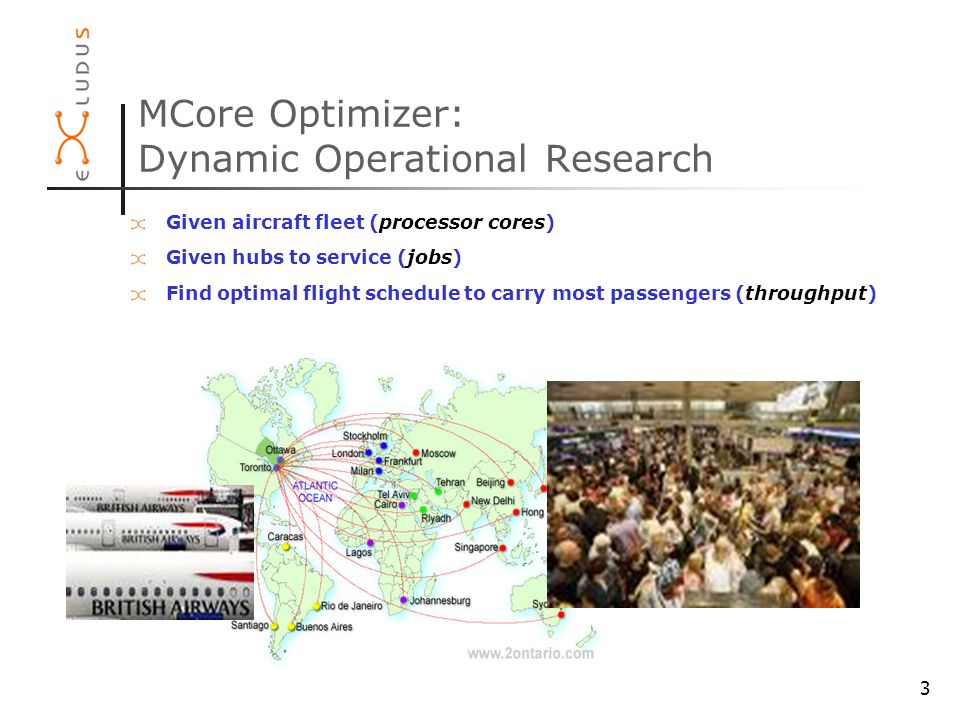 3 MCore Optimizer: Dynamic Operational Research Given aircraft fleet (processor cores) Given hubs to service (jobs) Find optimal flight schedule to carry most passengers (throughput)
