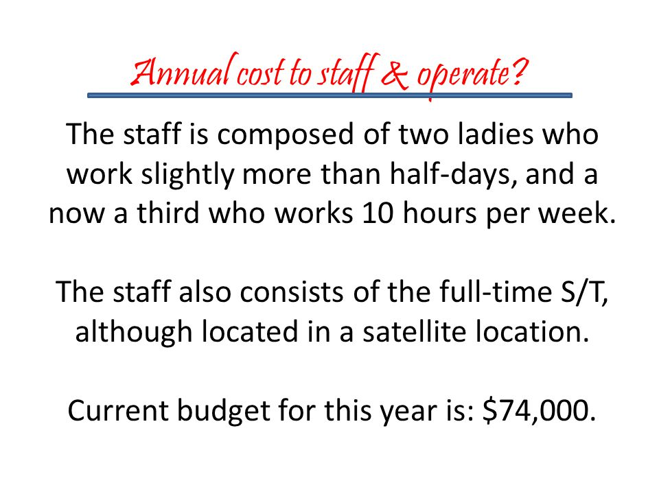 Annual cost to staff & operate.