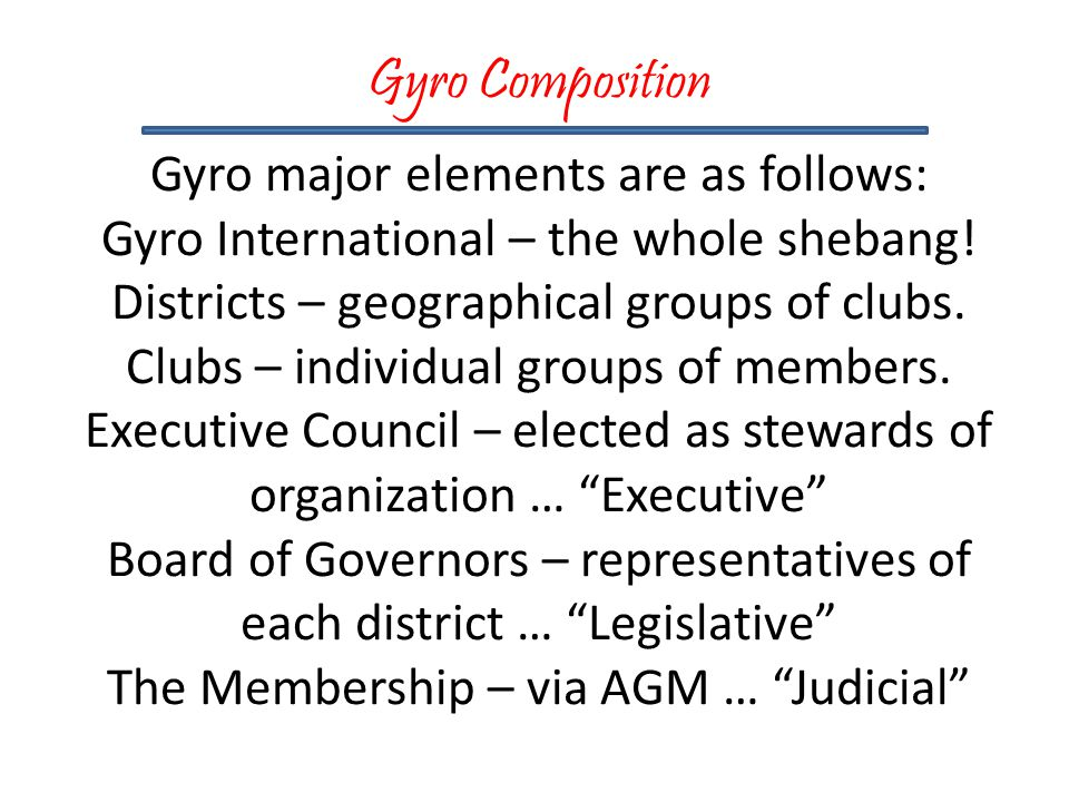 Gyro Composition Gyro major elements are as follows: Gyro International – the whole shebang.