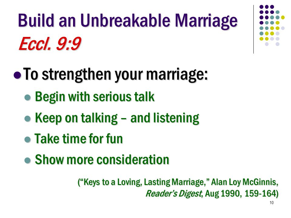 10 Build an Unbreakable Marriage Eccl.