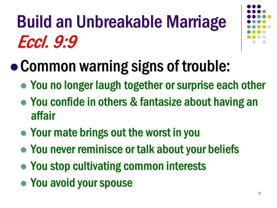 9 Build an Unbreakable Marriage Eccl.