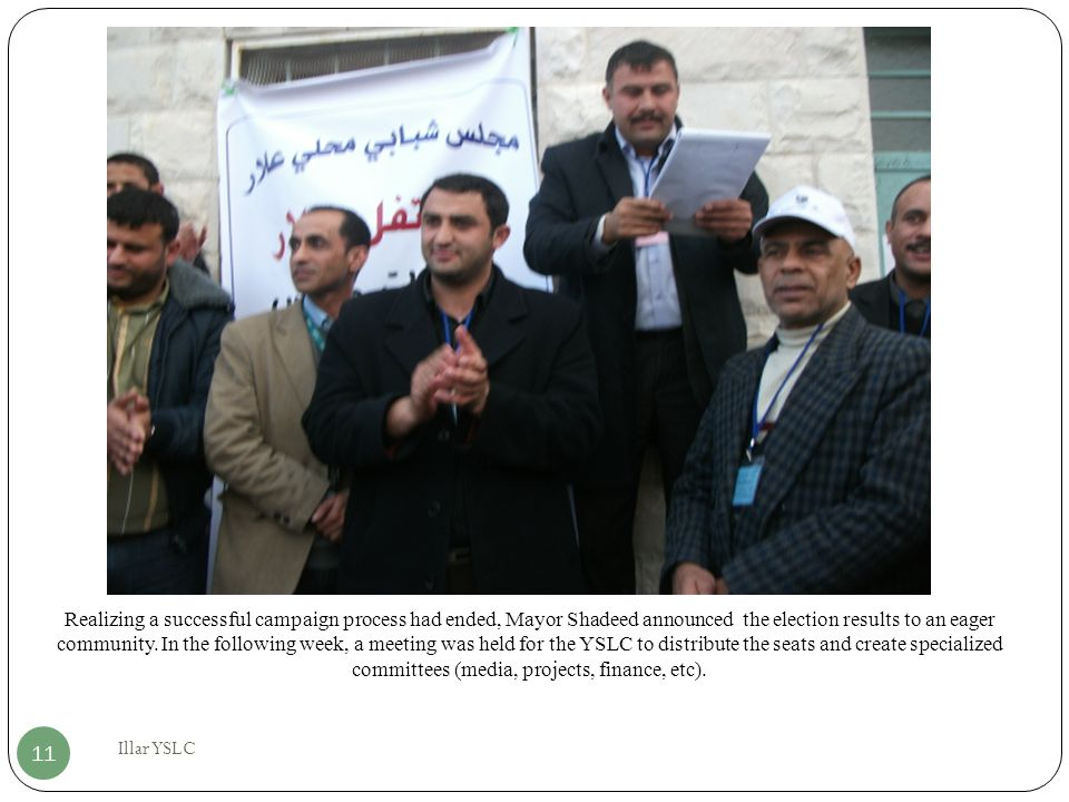 Realizing a successful campaign process had ended, Mayor Shadeed announced the election results to an eager community.