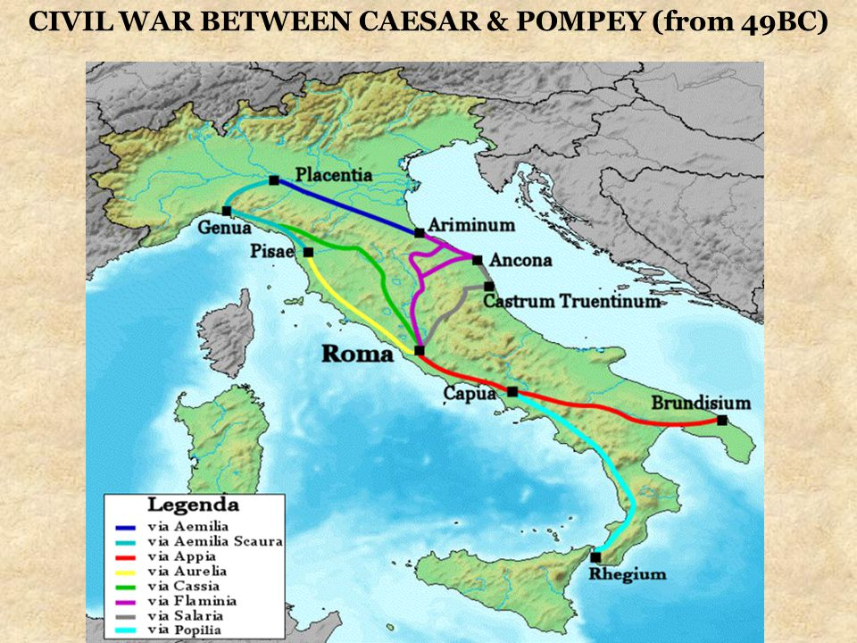 CIVIL WAR BETWEEN CAESAR & POMPEY (from 49BC)