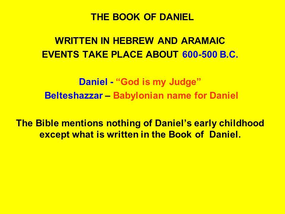 A STUDY OF THE BOOK OF DANIEL BY HAROLD HARSTVEDT SOUTH WALTON CHURCH OF CHRIST WALTON COUNTY FLORIDA, 32459