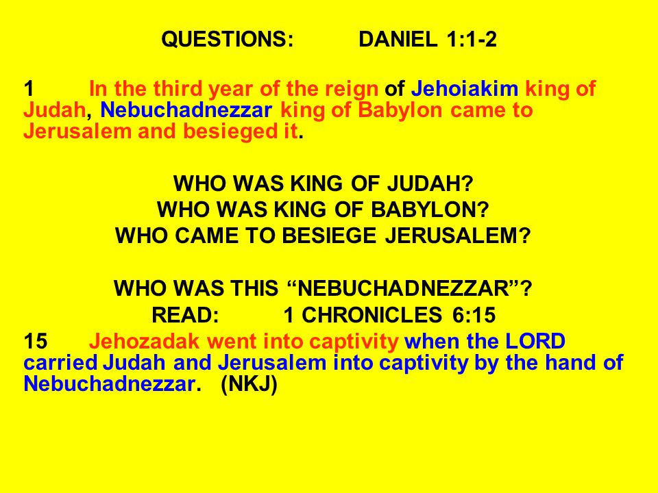 QUESTIONS:DANIEL 1:11-14 13 Then let our appearance be examined before you, and the appearance of the young men who eat the portion of the king s delicacies; and as you see fit, so deal with your servants. 14He consented with them in this matter, and tested them ten days.
