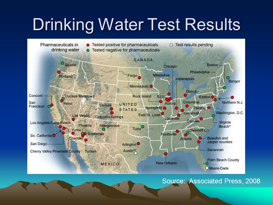 Drinking Water Test Results Source: Associated Press, 2008