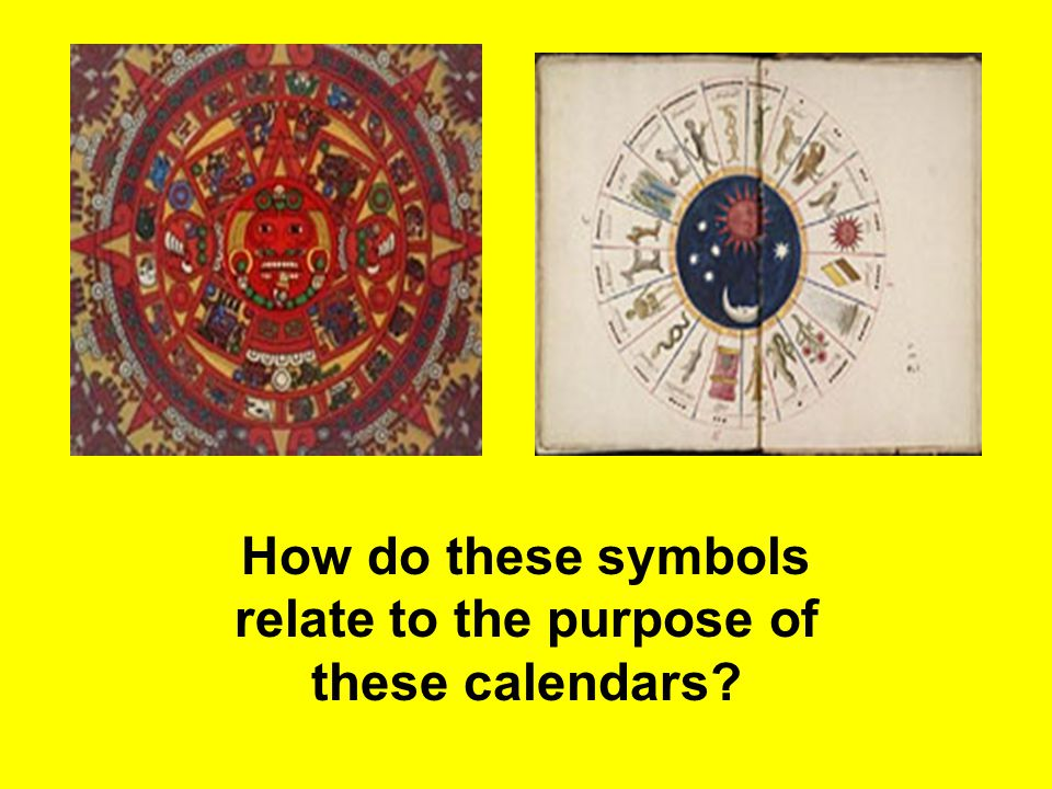 How do these symbols relate to the purpose of these calendars?