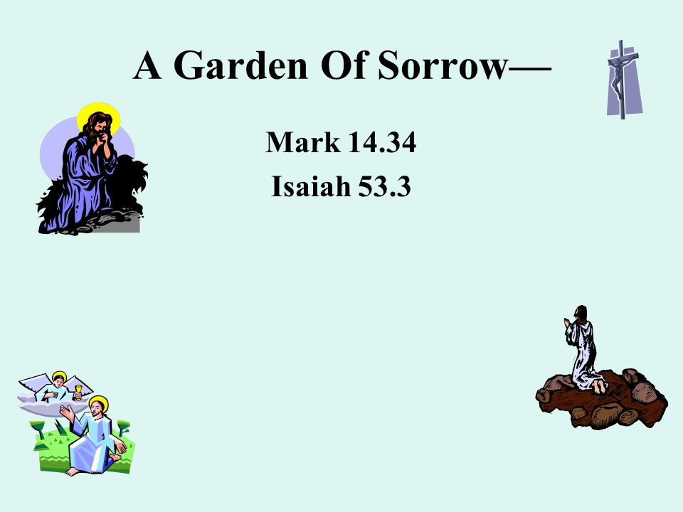 A Garden Of Sorrow— Mark 14.34 Isaiah 53.3