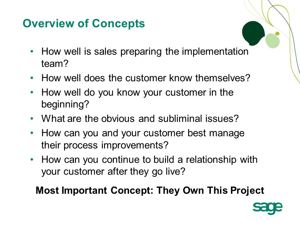 How well is sales preparing the implementation team.