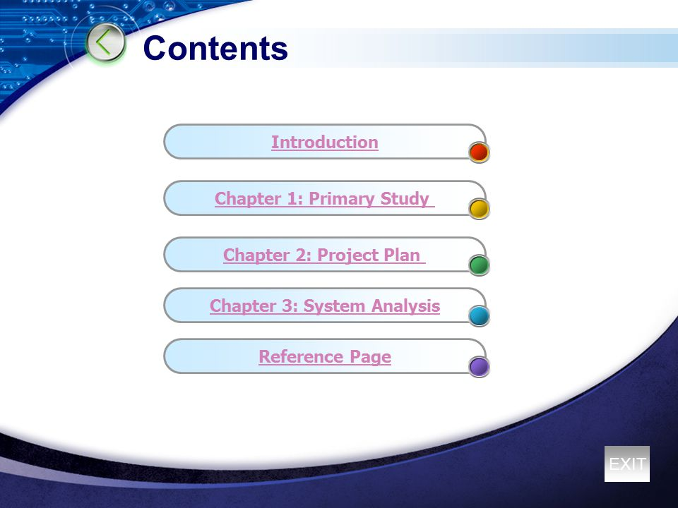 Contents Chapter 1: Primary Study Chapter 2: Project Plan Chapter 3: System Analysis Reference Page Introduction EXIT