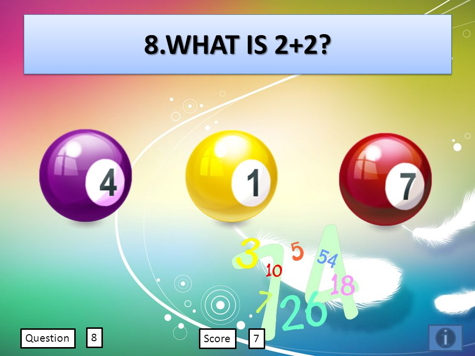 8.WHAT IS 2+2? Question 8 Score7