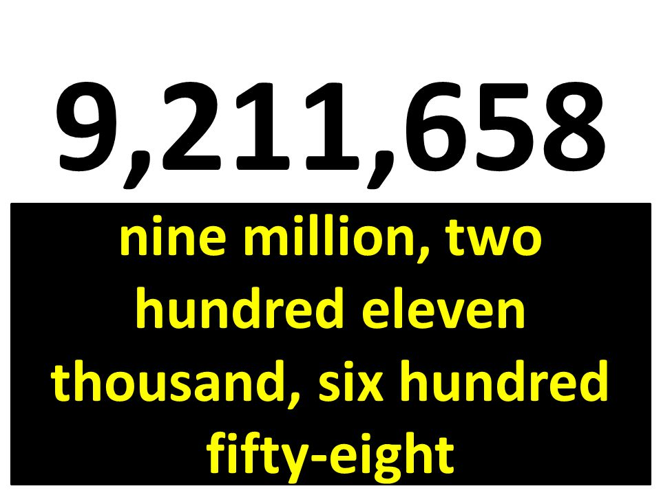 9,211,658 nine million, two hundred eleven thousand, six hundred fifty-eight