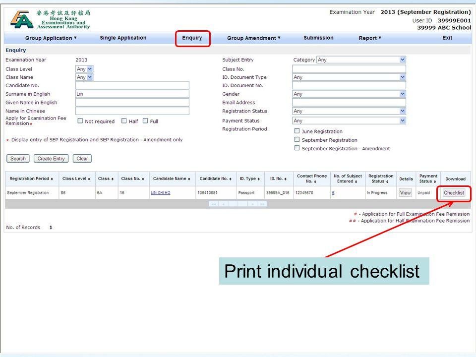 Print individual checklist