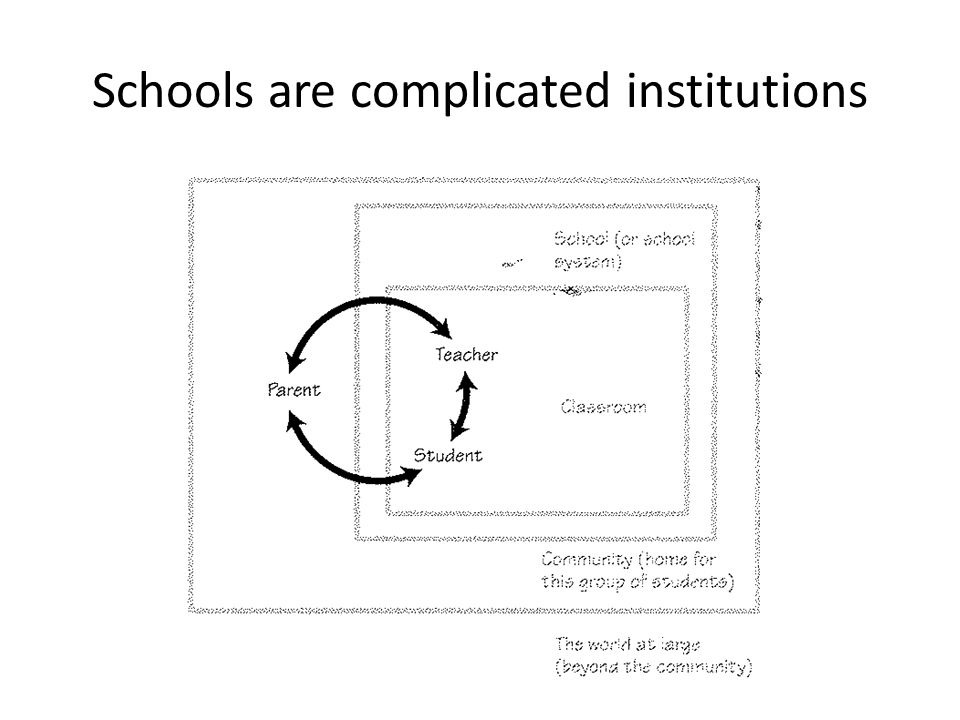 Schools are complicated institutions
