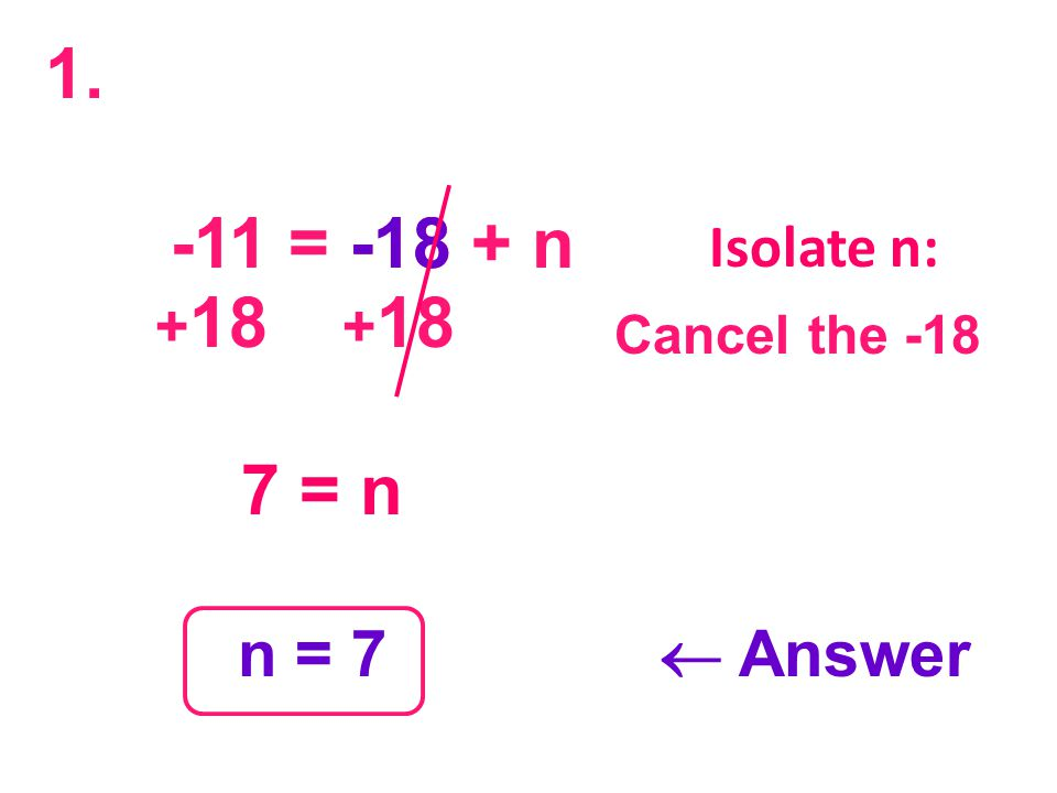 -11 = -18 + n -18 + 18 + 18 7 = n n = 7  Answer Isolate n: Cancel the -18 1.