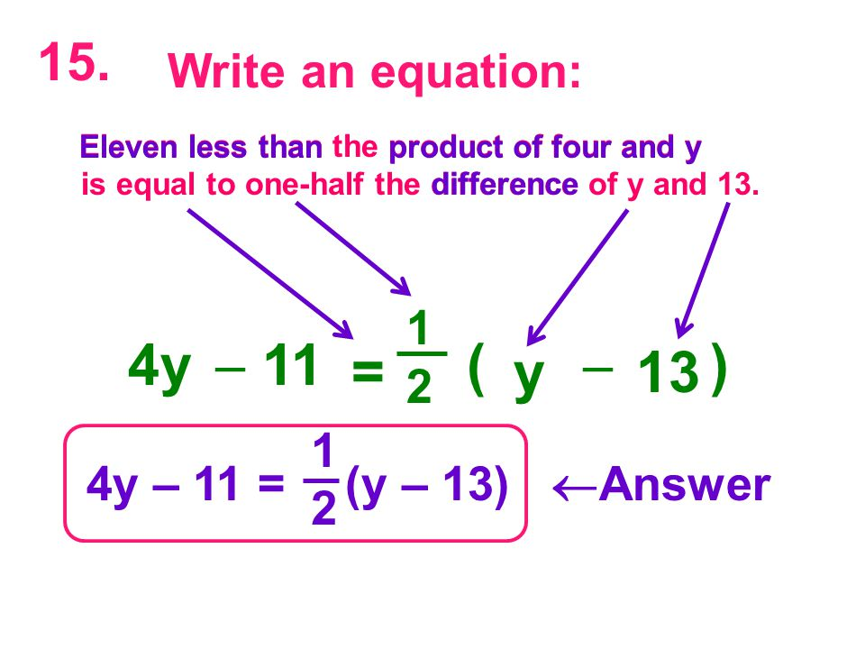 4y – 11 = (y – 13)  Answer 1 2 Eleven less than the product of four and y is equal to one-half the difference of y and 13.