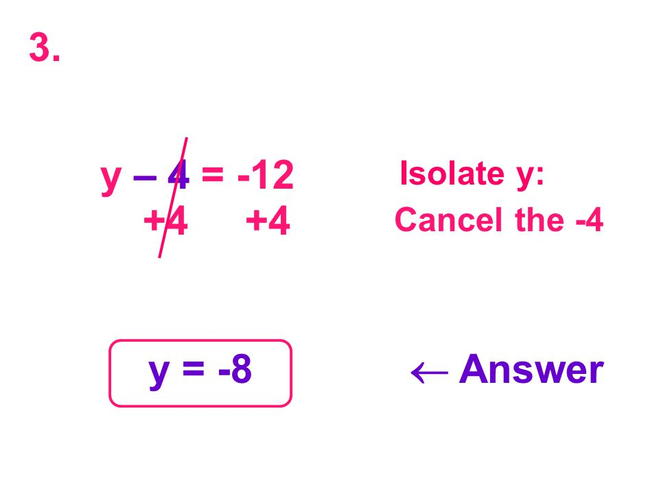 y – 4 = -12 – 4 +4 +4 y = -8  Answer Isolate y: Cancel the -4 3.