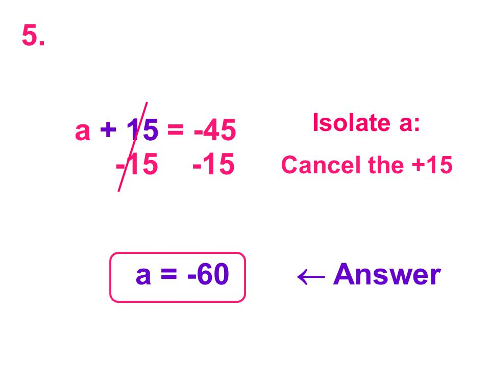 a + 15 = -45 + 15 -15 -15 a = -60  Answer Isolate a: Cancel the +15 5.