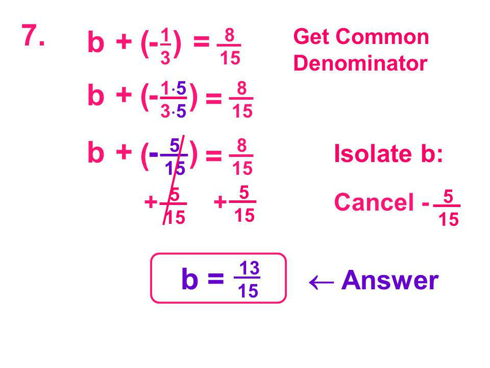 5 15  5 15  ++ -( 8 15 Isolate b: 7. 1313 b+)= Get Common Denominator ( 8 15 15351535 b+) = - 8 15 5 15  b+) = - ( 5 15  - Cancel - 5 15  b