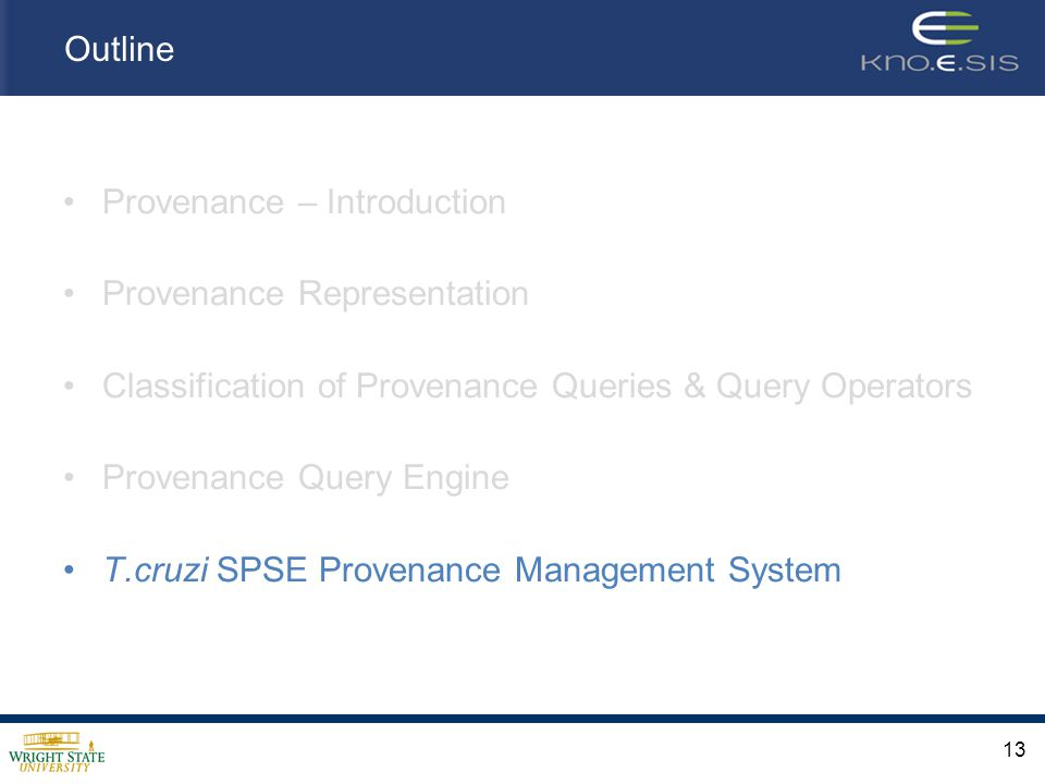 Outline Provenance – Introduction Provenance Representation Classification of Provenance Queries & Query Operators Provenance Query Engine T.cruzi SPSE Provenance Management System 13