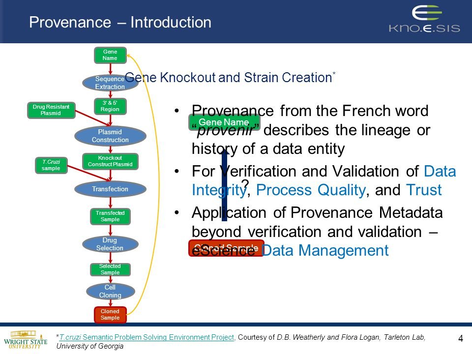 Provenance – Introduction *T.cruzi Semantic Problem Solving Environment Project, Courtesy of D.B.