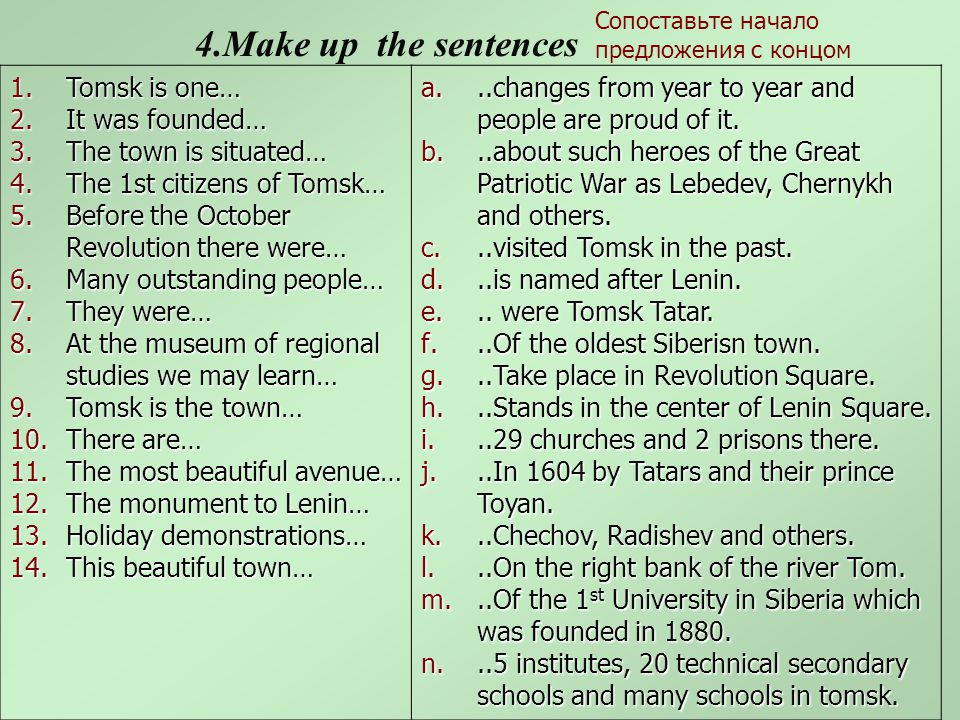 4.Make up the sentences 1.Tomsk is one… 2.It was founded… 3.The town is situated… 4.The 1st citizens of Tomsk… 5.Before the October Revolution there were… 6.Many outstanding people… 7.They were… 8.At the museum of regional studies we may learn… 9.Tomsk is the town… 10.There are… 11.The most beautiful avenue… 12.The monument to Lenin… 13.Holiday demonstrations… 14.This beautiful town… a...changes from year to year and people are proud of it.