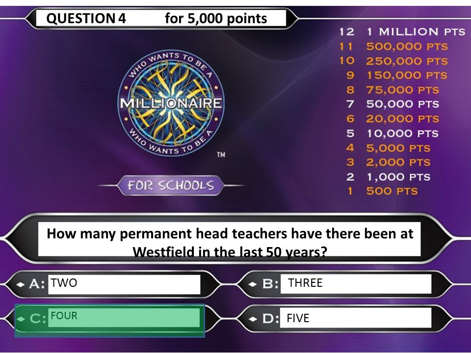 How many permanent head teachers have there been at Westfield in the last 50 years? TWOTHREE FOUR FIVE QUESTION 4 for 5,000 points