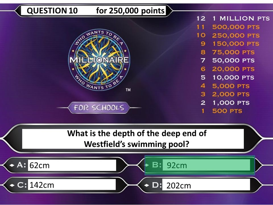 What is the depth of the deep end of Westfield's swimming pool? 62cm92cm 142cm 202cm QUESTION 10 for 250,000 points