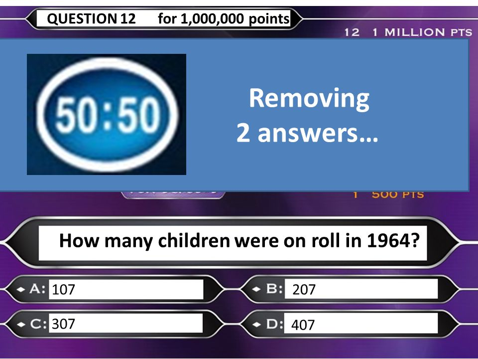 How many children were on roll in 1964 107207 307 407 QUESTION 12 for 1,000,000 points