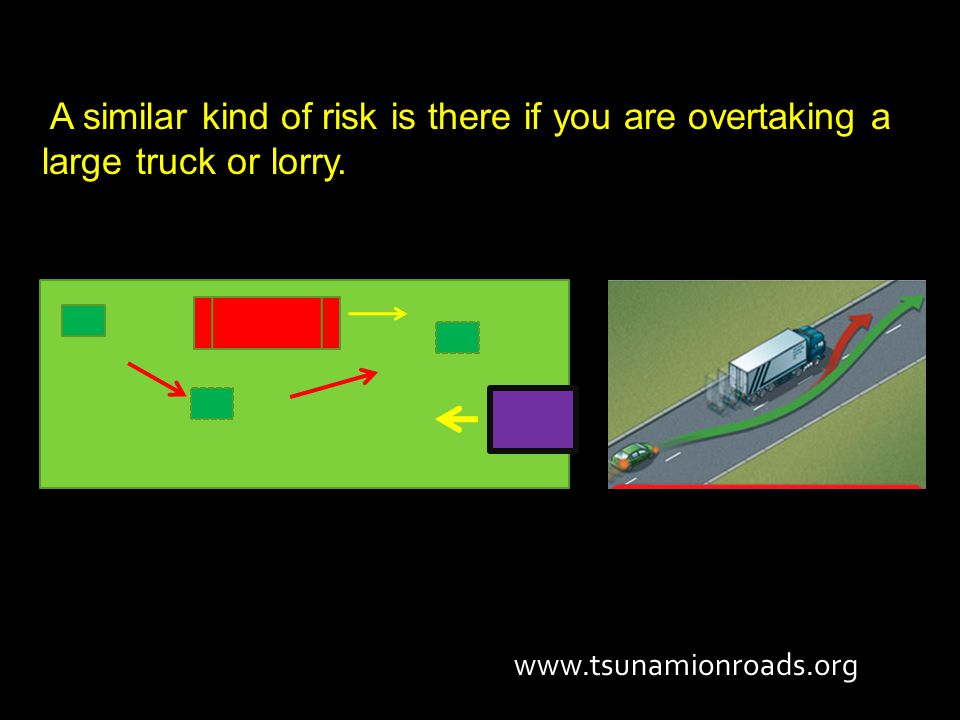 A similar kind of risk is there if you are overtaking a large truck or lorry. www.tsunamionroads.org