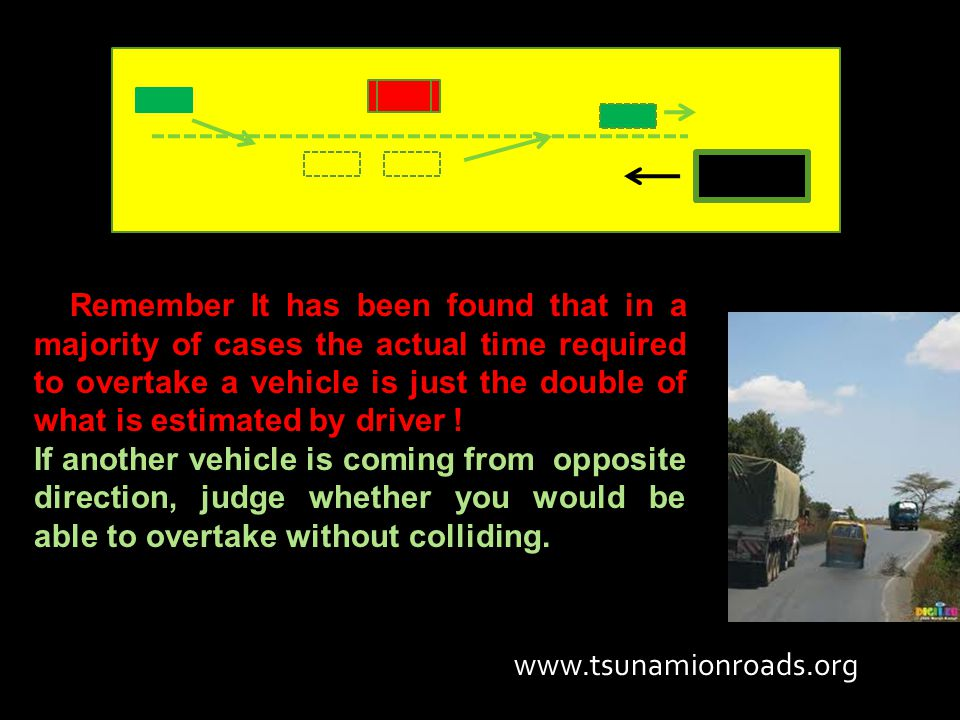 Remember It has been found that in a majority of cases the actual time required to overtake a vehicle is just the double of what is estimated by drive