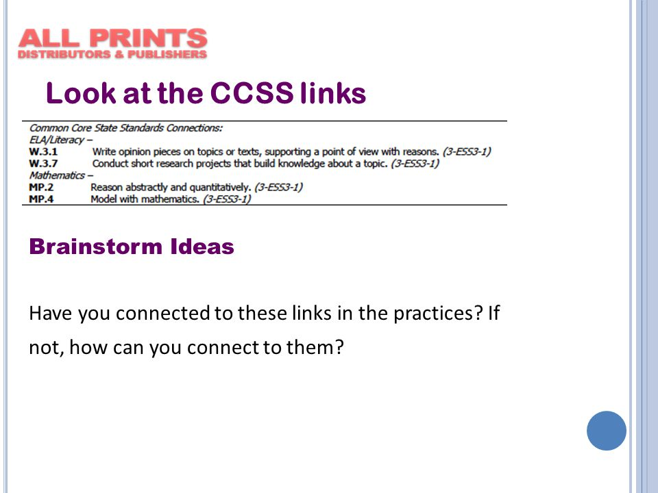 Look at the CCSS links Brainstorm Ideas Have you connected to these links in the practices.