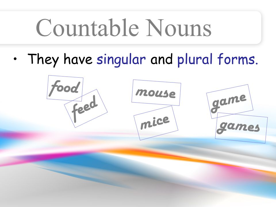 They have singular and plural forms. Countable Nouns food feed mouse mice game games