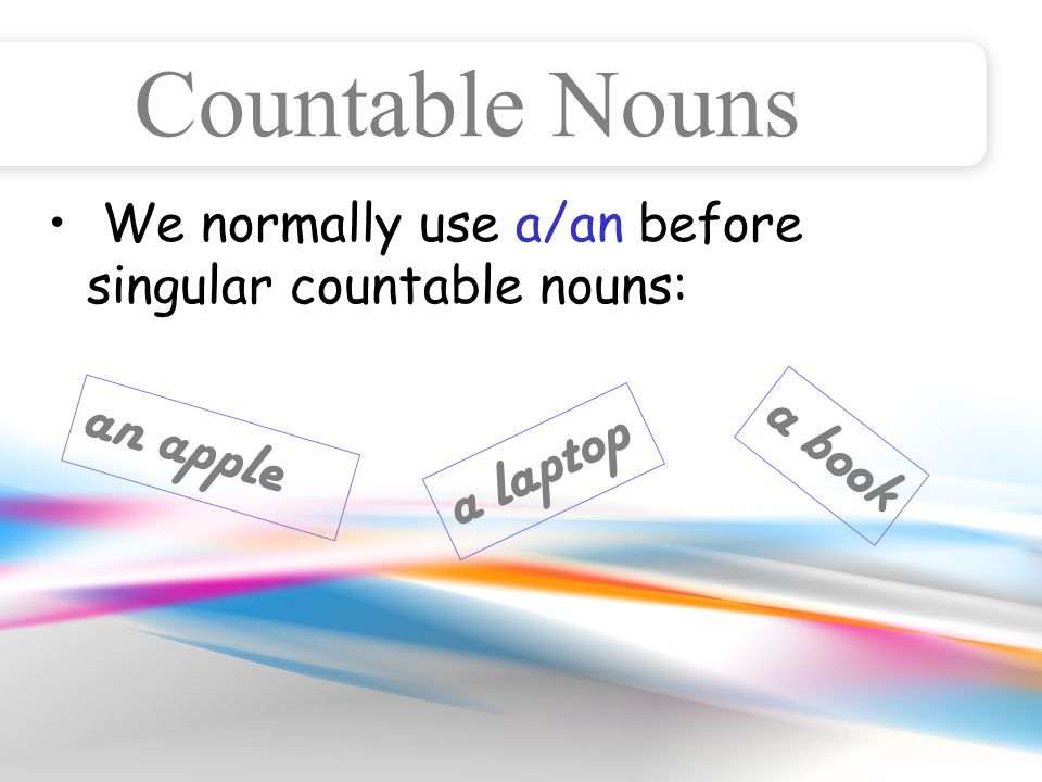 Countable Nouns We normally use a/an before singular countable nouns: an apple a laptop a book