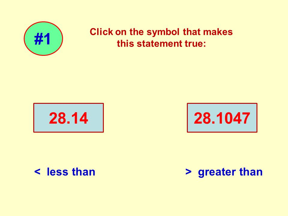 Click on the symbol that makes this statement true: 28.1428.1047 #1 < less than> greater than < > =