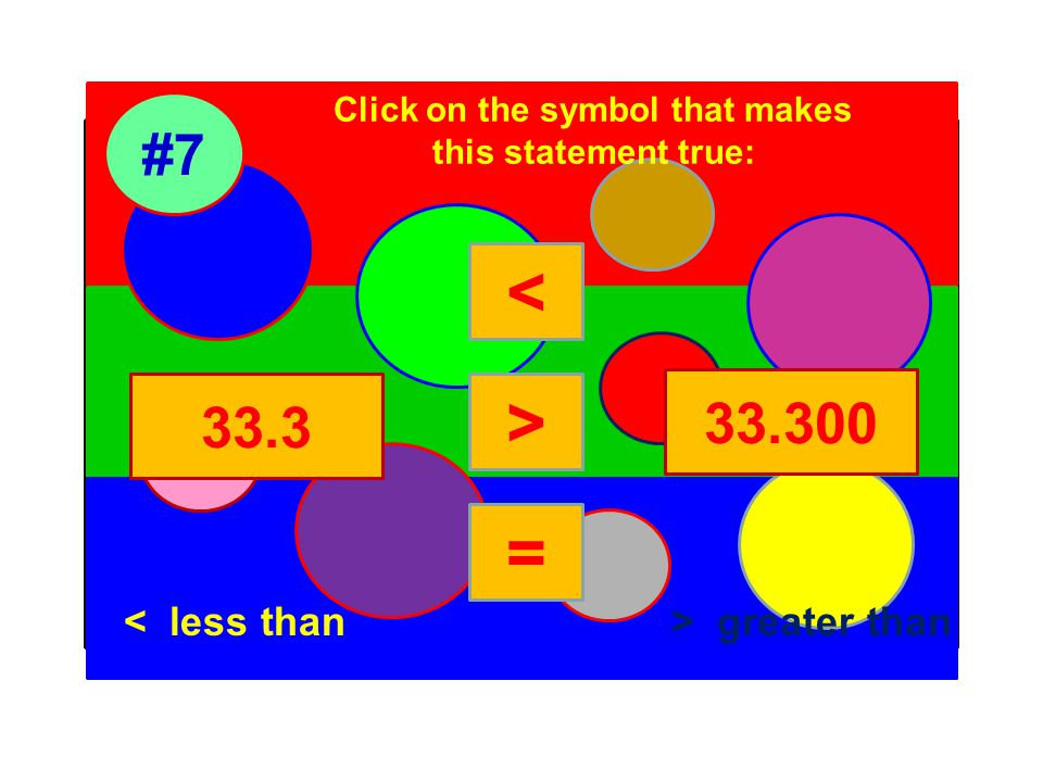 Click on the symbol that makes this statement true: #7 33.3 33.300 < > = < less than> greater than