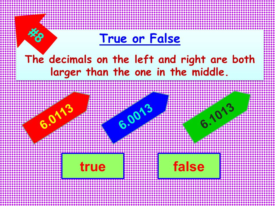True or False The decimals on the left and right are both larger than the one in the middle.