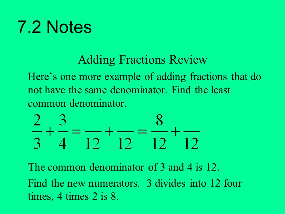 7.2 Notes Adding Fractions Review Here's one more example of adding fractions that do not have the same denominator. Find the least common denominator